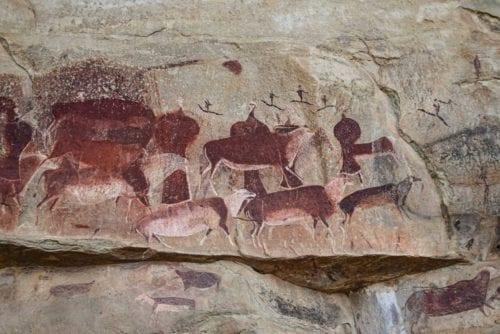 Giants castle San rock paintings kan du se på din vandring i Drakensberg