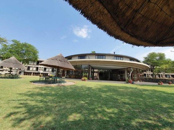 Vi såg flera elefanter i närheten av Hwange Safari Lodge