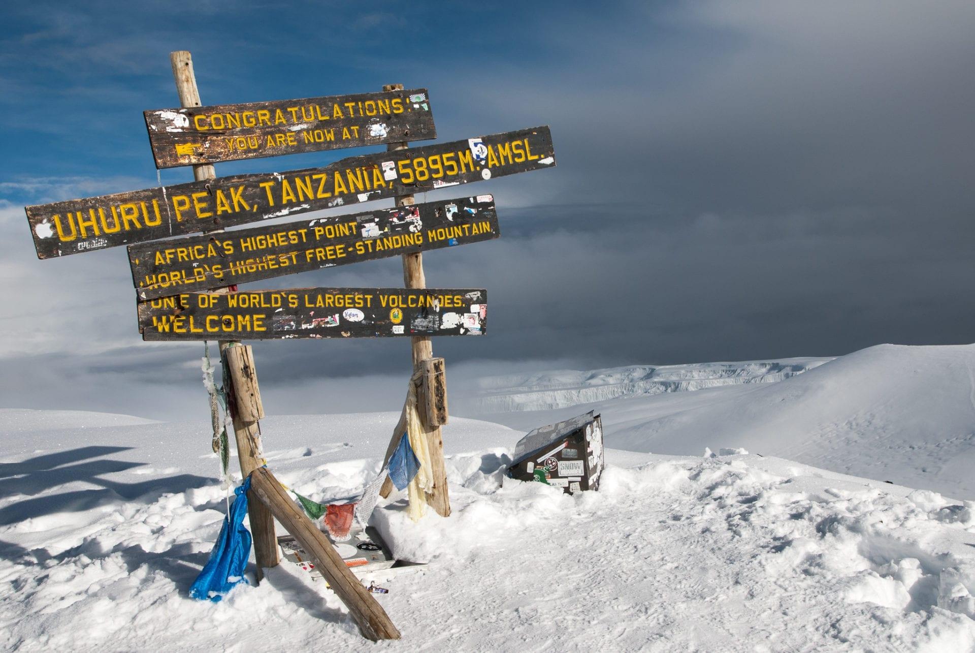 Skylten på toppen av Kilimanjaro gratulerar bergsbestigaren till att ha nått Afrikas högsta punkt. I bakgrunden syns molntäcket och mängder med snö